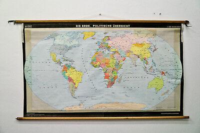 Schulwandkarte Die Erde, Politische Übersich Worldmap Coldwar 105x175cm DDR 1988