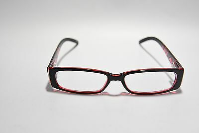 Zenni Optical Full Rim Rectangular Plastic Eyeglass Frames Black Red Swirl New