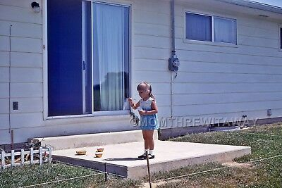1968 COLOR SLIDE 1445 Ohio Sweet Little Blonde Girl Blowing Bubbles on Patio