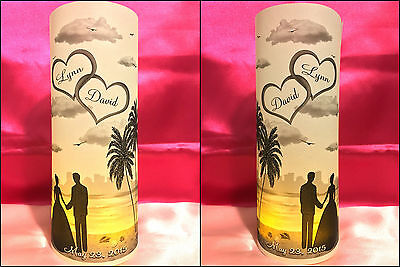 10 Personalized Beach Theme Wedding Luminaries Table Centerpieces Decorations