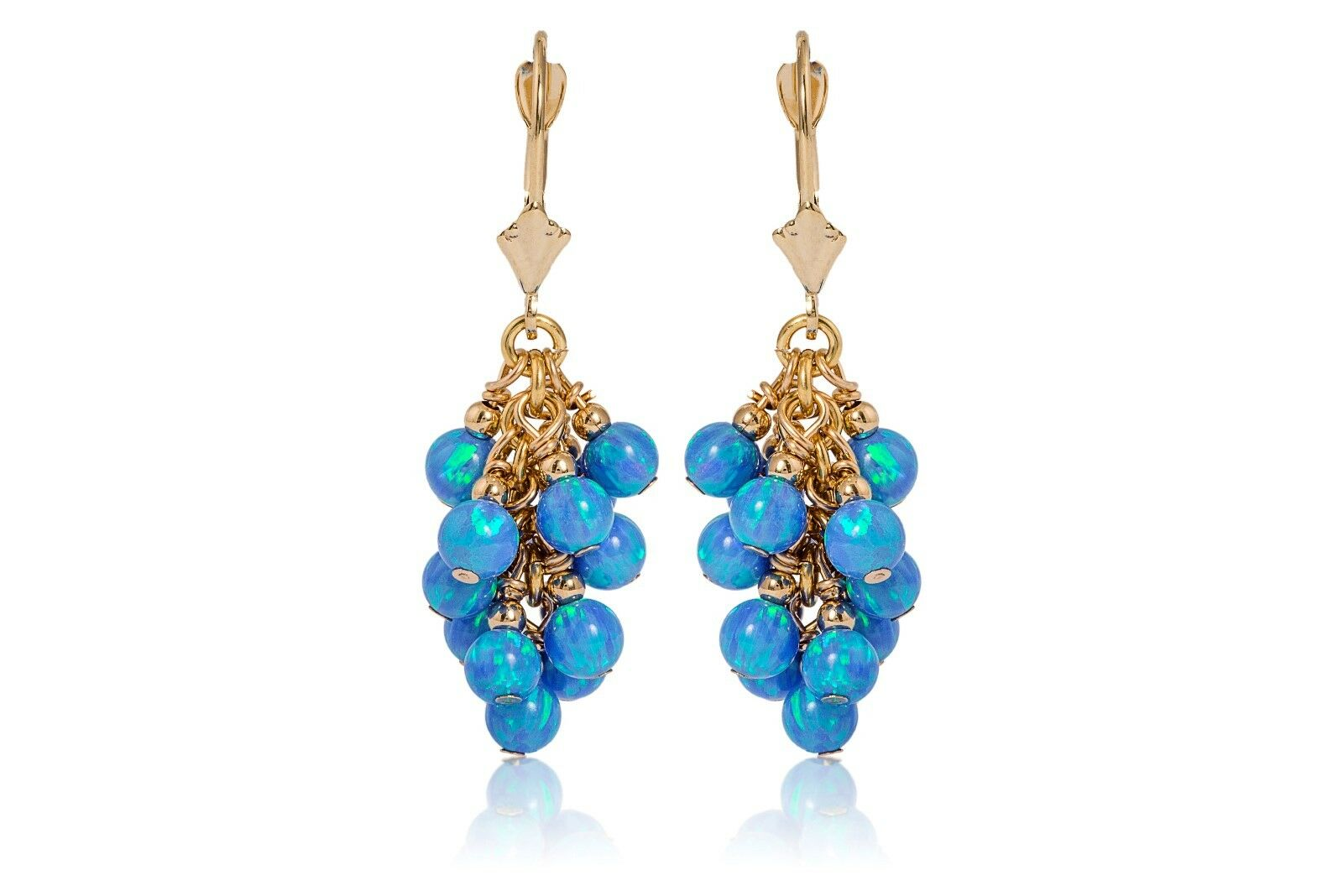 8b26e908f Details about 14K Solid Yellow Gold Grape Blue Fire Opal Drop Lever Back  Dangle Earrings