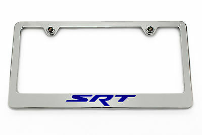 SRT Chrome License Plate Frame - Blue Logo Challenger Charger Jeep Chrysler 300 ()