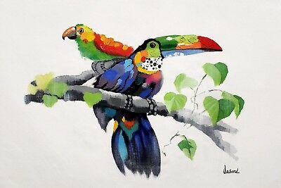 Modern Style Animal,  Tucan and Parrot  24x36 Hand painted on Giclee Canvas