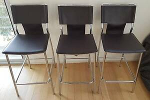3x Brown Chairs/Bar Stools Synthetic/Faux Leather North Melbourne Melbourne City Preview