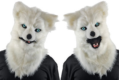 Animated Animal White Wolf Plastic Face Mask With Moveable Jaw Halloween - Animal Mask Halloween