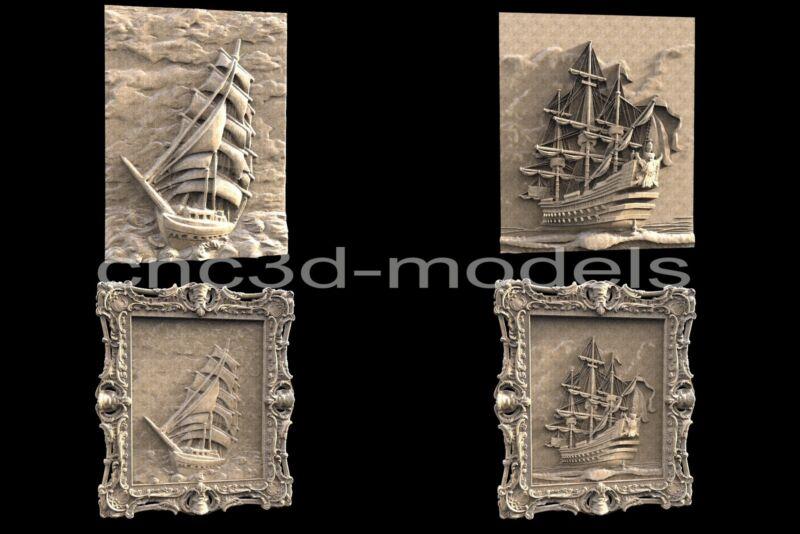 3D Model STL for CNC Router Engraver Carving Artcam Aspire Sailing Ship Boat 061