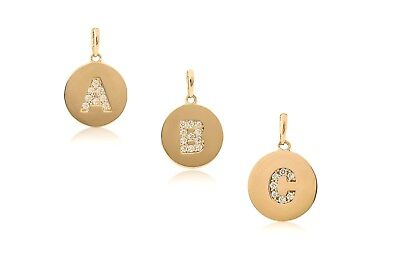 14K Solid Yellow Gold Initial Round Disc Letter Pendant Necklace 0.20 ct.