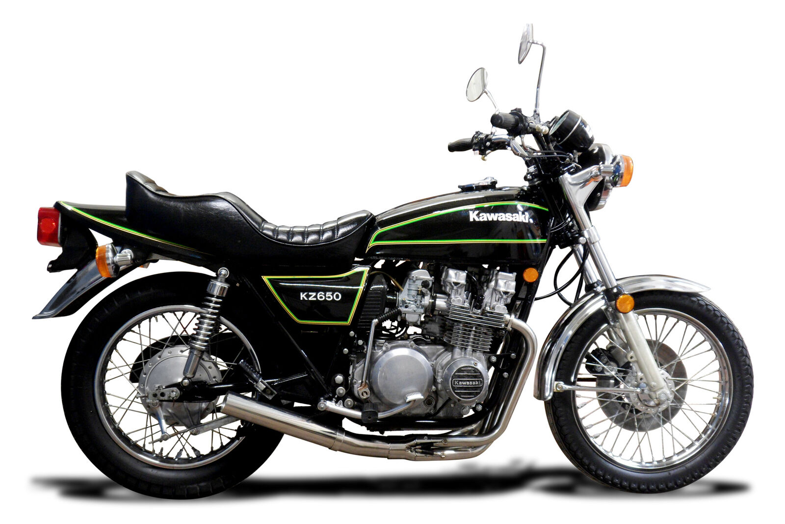 with Classic Megaphone Muffler and Stainless Steel 4-1 Headers 1976-1980 Delkevic Aftermarket Full System compatible with Kawasaki KZ650 B /& C