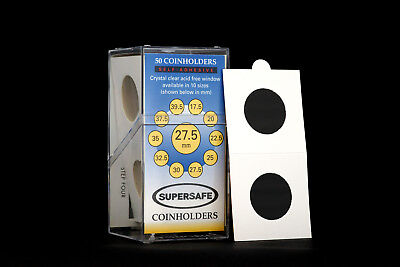 Supersafe 2 x 2 Self Adhesive Coinholders Box of 50 for 27.5mm SBA and Sacagawea