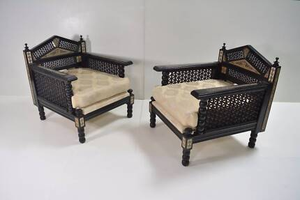 ANTIQUE 1890's Mother of Pearl Chairs. QUALITY like B&B Italia