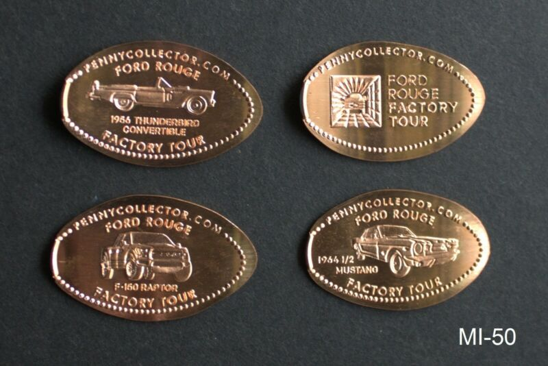 MI50 - NEW DESIGNS 4 elongated pennies copper Ford Rouge Factory Tour