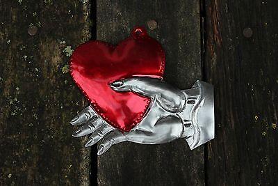 Mexican Tin Milagro Ornament Heart in Hand Love Token! Hand made Folk Art Oaxaca