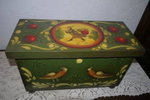 Hand Crafted & Decorative Painted Folk Art Chest Trunk with Ball Feet