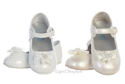 New Baby Toddler Girls White Ivory Dress Shoes Kids Mary Jane Flats Baptism - Girls Ivory Flats