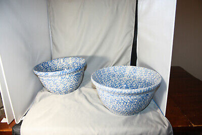 Roseville Workshops of Gerald E. Henn Blue Spongewear Gallon Bowl