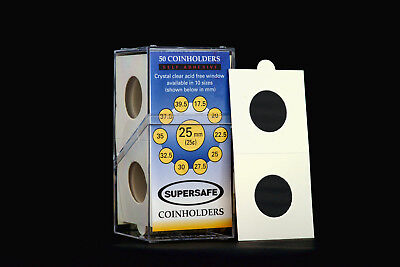 Supersafe 2 x 2 Self Adhesive Coinholders Box of 50 for 25mm Quarter