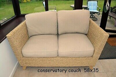 2 Seater Wicker Sofa with Cream Cushions