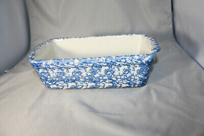 Roseville Workshops of Gerald E. Henn Blue Spongeware Loaf Pan< NEW