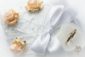 Boda-Anillo-Almohada-Cojin-Soporte-de-anillo-de-compromiso-Rosas-Naranja-P5