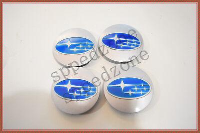 Blue Center (4PCS Silver Blue Wheel Hub Center Caps Fit For 2006-15 Subaru #28821SA030 )
