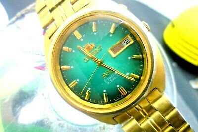 "Mens 36mm ORIENT AAA Crystal 21j 469640-7J Automatic SS 7 1/2""  Gold/ Green for sale  Shipping to India"
