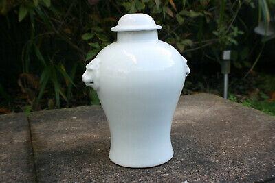 Oriental White Porcelain Carved Vase Lamp Stand - Marks