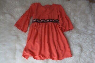 Boatneck Pullover Kleid (Red Camel Girls kids size 12 Coral pullover Tie Back dress boat neck long sleeve)