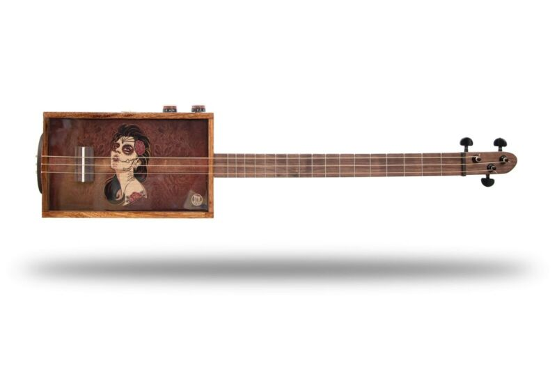 Leather Rose 3 String Electric Cigar Box Guitar