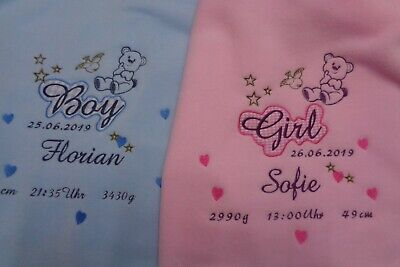 Babydecke mit Namen Datum Größe und Uhrzeit bestickt personalisiert