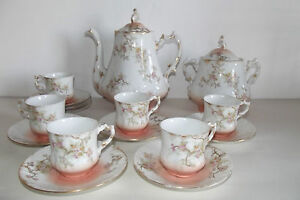 03b64 ancien service a caf limoges 1900 fleurs emaillees art nouveau 6 tasses ebay. Black Bedroom Furniture Sets. Home Design Ideas