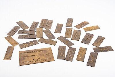 Lot Of 28 Misc New Hermes Master Copy Brass Engraving Font Letters V10