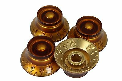 Amber Bell Hat Knobs 4pk for Gibson guitars with US fine (Amber Bell)