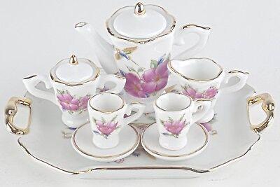 - SM COLLECTIBLE HUMMINGBIRD PORCELAIN TEA SET TEAPOT SUGAR BOWL CREAMER 2 TEACUPS