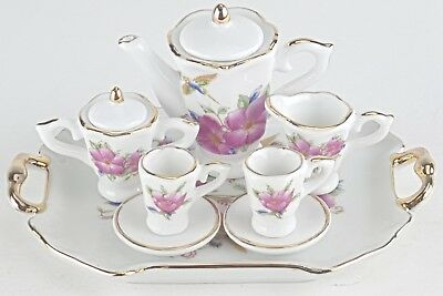 SM COLLECTIBLE HUMMINGBIRD PORCELAIN TEA SET TEAPOT SUGAR BO