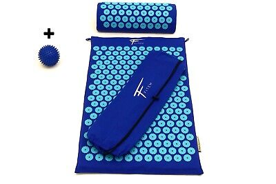 Kit d'acupression FITEM. Tapis+coussin+boule de massage Bleu/turq