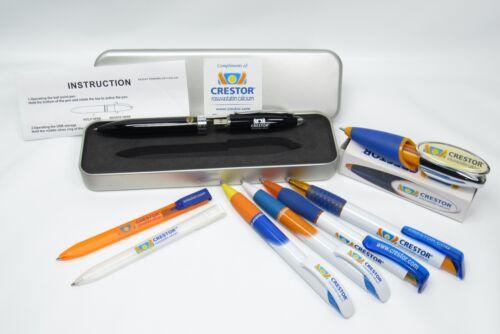 Crestor Drug Rep Lot 8 Pharmaceutical Pens, Rare Black 128MB Flash Drive & Bono