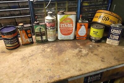 Vintage AD Cans 9 LOT~Winchester~Stabil~Allstate Lub~Kroil~Oxweld~Krex~Crown