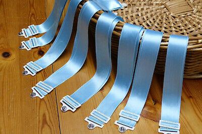8 hellblaue Wäschebänder Satin 2,5 x 60 cm Originalverschluss