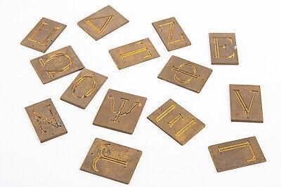 Lot Of 14 New Hermes Greek Letters Master Copy Brass Engraving Font V19