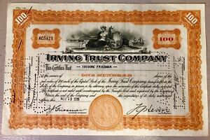 Irving trust company shares certificates