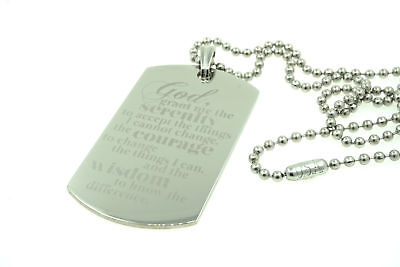 Serenity Prayer Jesus Christ Custom Engraved Dog Tag Pendant Necklace Christian (Customized Dog Tag Necklaces)