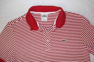 Men's size 4 (S) red & white striped IZOD Lacoste polo golf shirt short sleeve