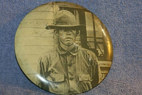 "VINTAGE & RARE 1926 6"" ROUND TIN COVERED WITH CELLUOID WITH WW1 PHOTO OF MAN"