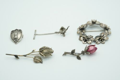 Vintage Lot of 5 Sterling Silver Flower & Roses Brooches, 35.0g