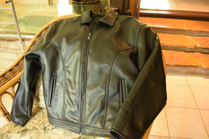 ac luxury collection leather jacket. ac mens leather look black jacket-made in italy (large) brand new ac luxury collection jacket