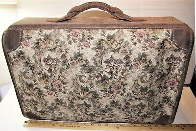 Shapiro Travelware Vintage Tapestry Suede Leather Suitcase Luggage Carry On Bag - $59.00