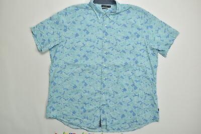 Men's Nautica Button Down/ Button Up Big & Tall 4XLT Blue Fish Short Sleeve Cott