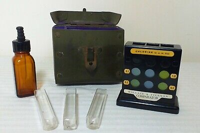 ANTIQUE VINTAGE WALLACE & TIERNAN COMPARATOR CASE - CHLORINE DETERMINATION KIT