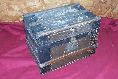 Antique Mini Trunk Old Vintage Wooden Wood Small Little Primitive Civil War Box