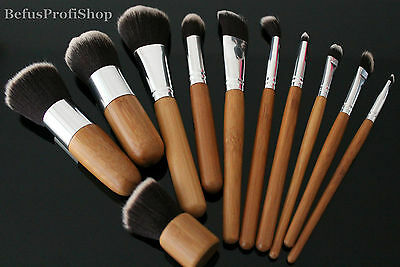 Make-up Pinsel Set Bambus 11tlg Pinselset Brush Schminkpinsel